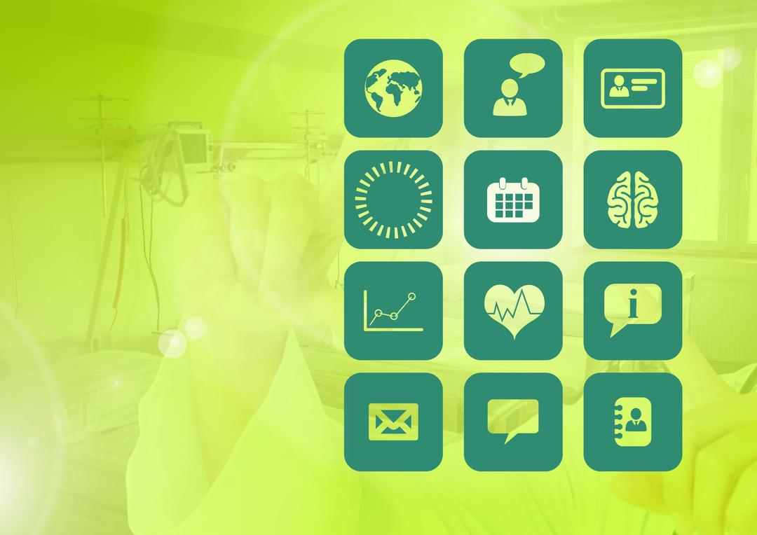 Digital composition of various icons on green background Free Stock Images from PikWizard