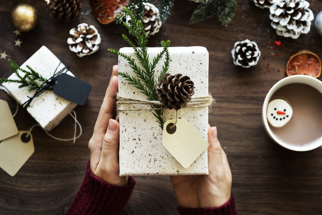 Image of a Person holding a Wrapped Present in His Hands