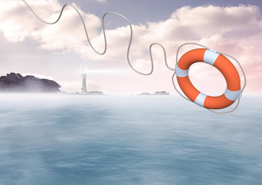 Digital composite image of lifebuoy with rope thrown in air Free Stock Images from PikWizard
