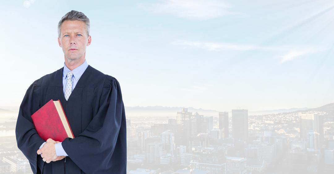 Digital composite of Judge holding book in front of bright city