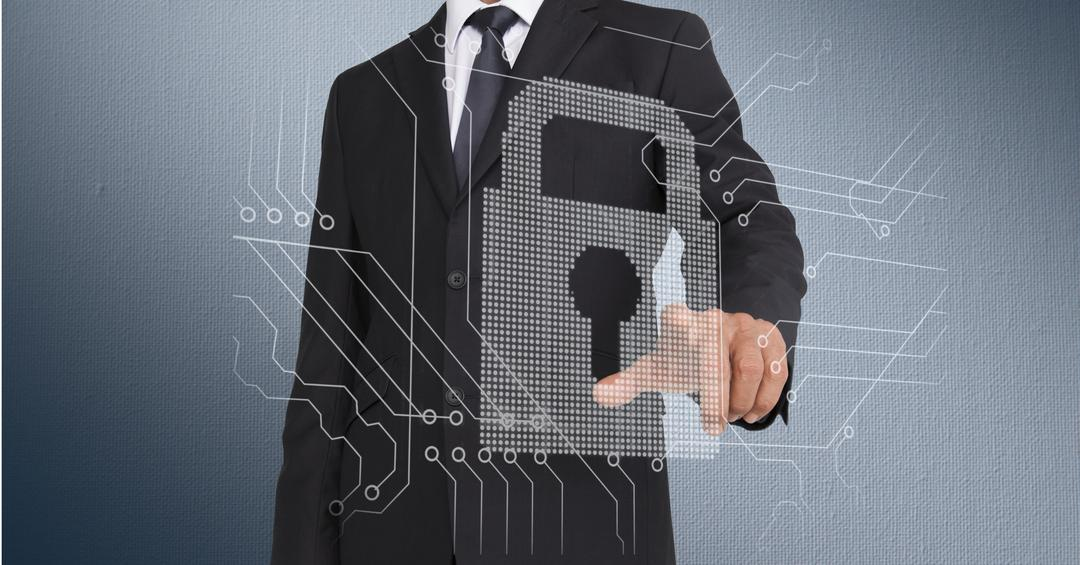 Digital composition of businessman touching a lock and circuit board on invisible screen with