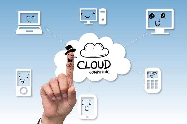 composite of hand pointing at cloud computing graphics