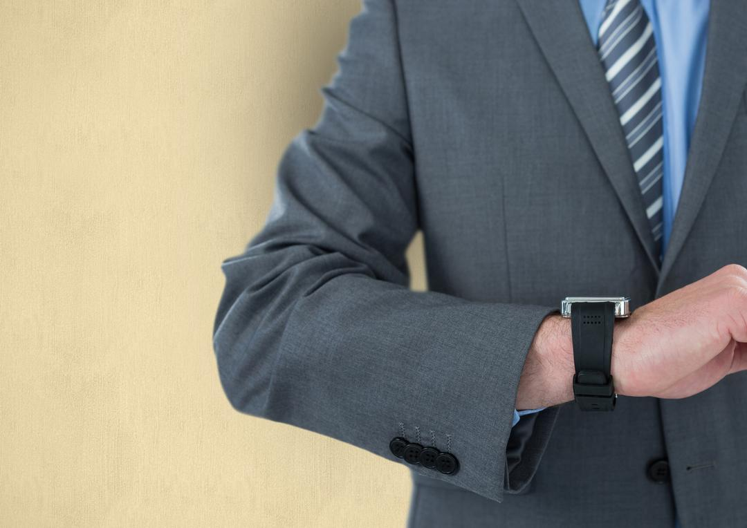 Digital composite of Midsection of businessman wearing wristwatch