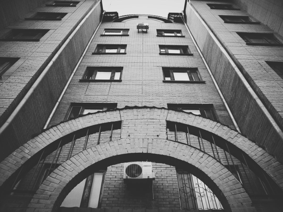 Black and white brick building