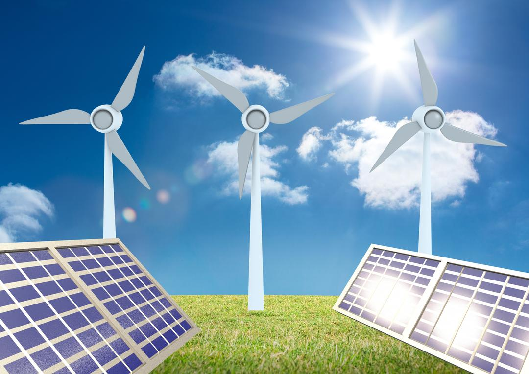 Digital composition of solar panel with windmill on green grass against bright sun in the background