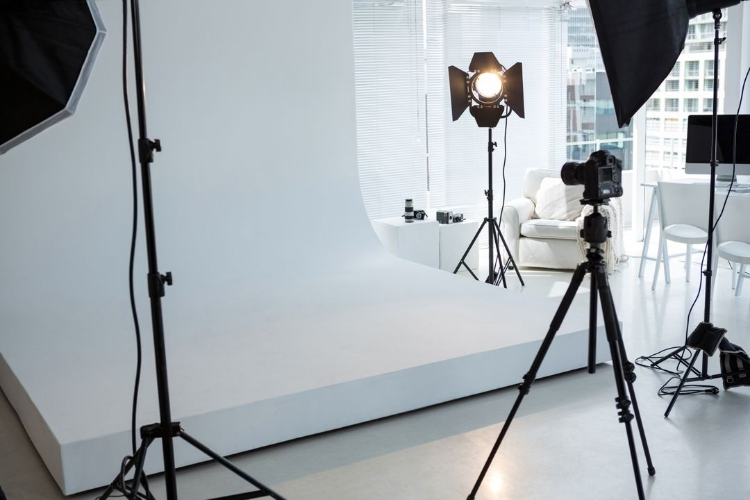 Photoshoot image with camera equipment and lights