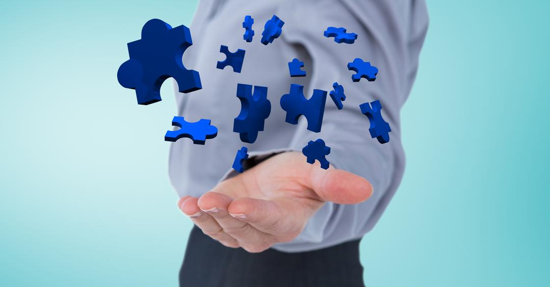 Digital composition of businessman catching jigsaw puzzle pieces Free Stock Images from PikWizard