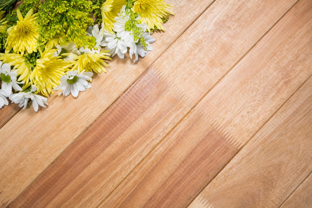 Fresh flowers arranged on wooden board Free Stock Images from PikWizard