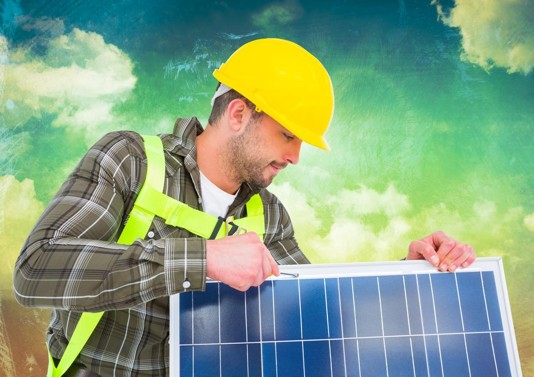Digital composition of a man in hardhat holding a solar panel Free Stock Images from PikWizard