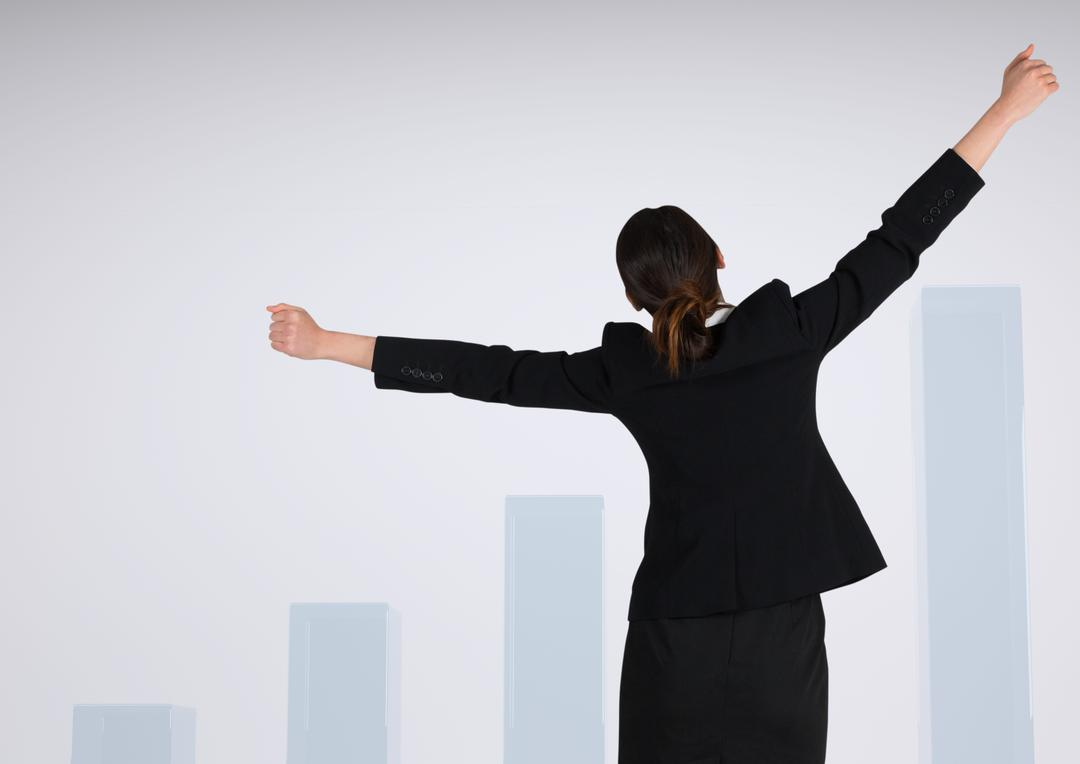 Digital composite of Businesswoman with arms stretched widely against charts incrementing