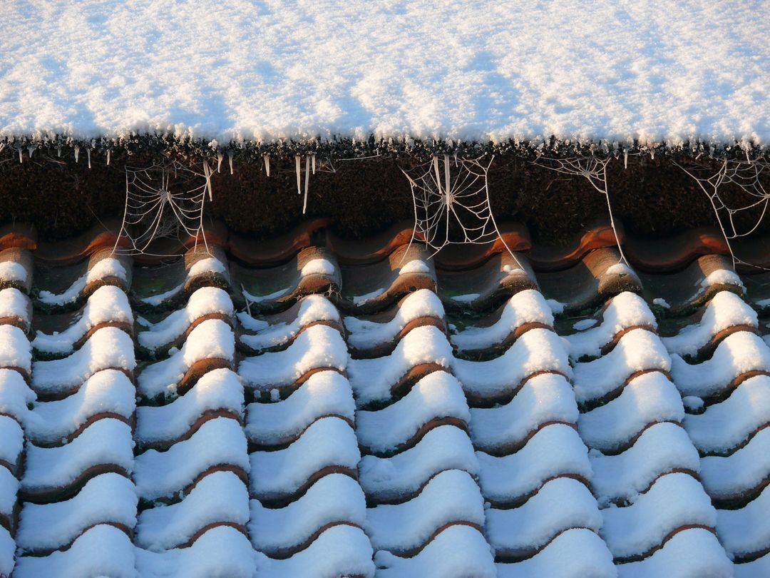 Icicles roof tiles snow web with ice