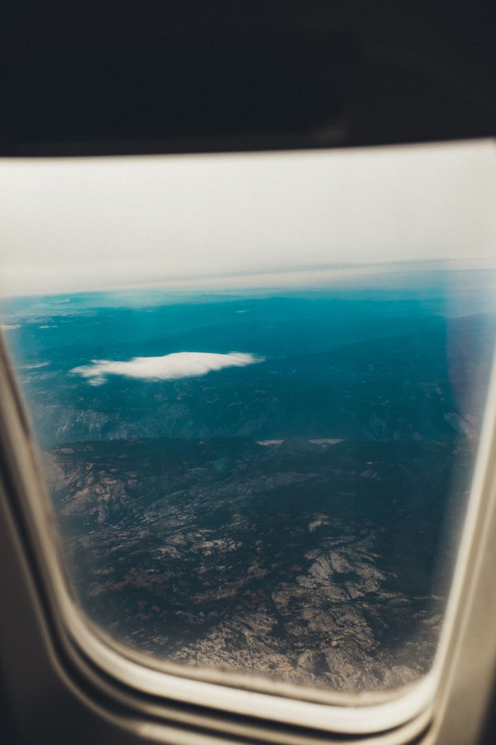 Airplane window flying