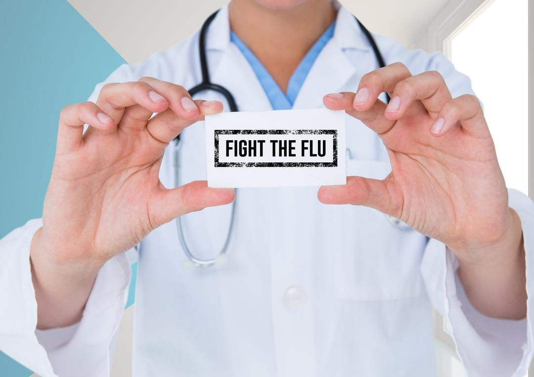 Doctor holding placard with text fight the flu text