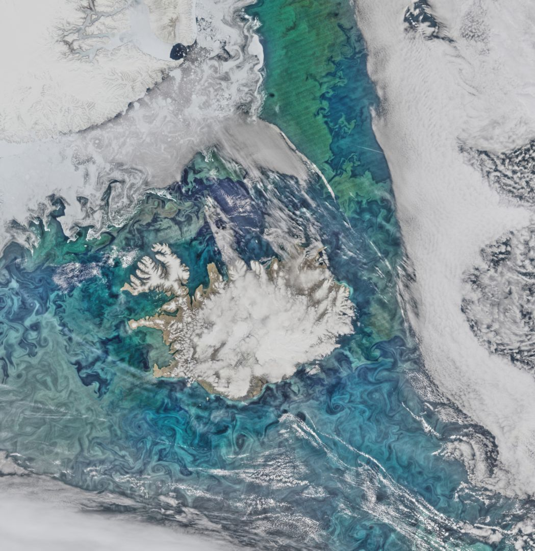 "Phytoplankton communities and sea ice limn the turbulent flow field around Iceland in this Suomi-NPP/VIIRS scene collected on June 14, 2015.  Credit: NASA/Goddard/Suomi NPP/VIIRS  <b><a href=""http://www.nasa.gov/audience/formedia/features/MP_Photo_Guidelines.html"" rel=""nofollow"">NASA image use policy.</a></b>   <b><a href=""http://www.nasa.gov/centers/goddard/home/index.html"" rel=""nofollow"">NASA Goddard Space Flight Center</a></b> enables NASA's mission through four scientific endeavors: Earth Science, Heliophysics, Solar System Exploration, and Astrophysics. Goddard plays a leading role in NASA's accomplishments by contributing compelling scientific knowledge to advance the Agency's mission.  <b>Follow us on <a href=""http://twitter.com/NASAGoddardPix"" rel=""nofollow"">Twitter</a></b>  <b>Like us on <a href=""http://www.facebook.com/pages/Greenbelt-MD/NASA-Goddard/395013845897?ref=tsd"" rel=""nofollow"">Facebook</a></b>  <b>Find us on <a href=""http://instagrid.me/nasagoddard/?vm=grid"" rel=""nofollow"">Instagram</a></b>"