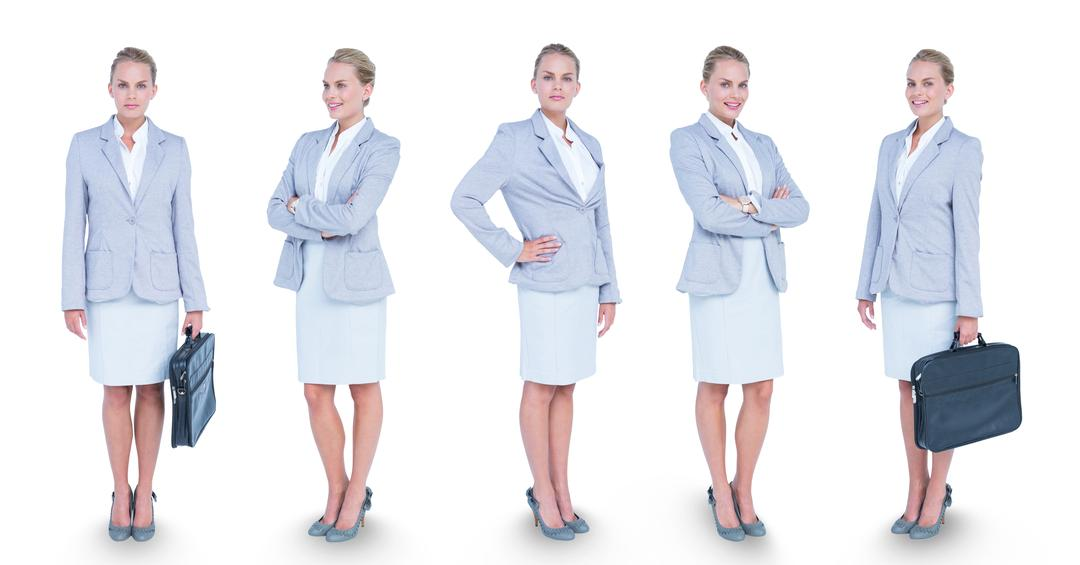 Digital composite of Multiple image of confident businesswoman carrying briefcase