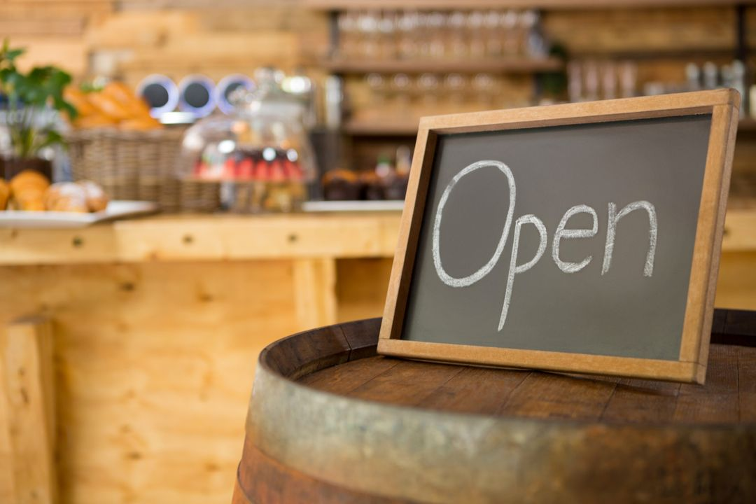 Image of an open sign in a restaurant