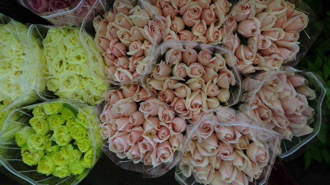 High angle view of flowers for sale in market Free Stock Images from PikWizard