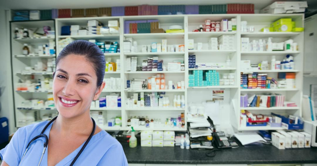 Digital composite of Portrait of smiling female doctor at pharmacy