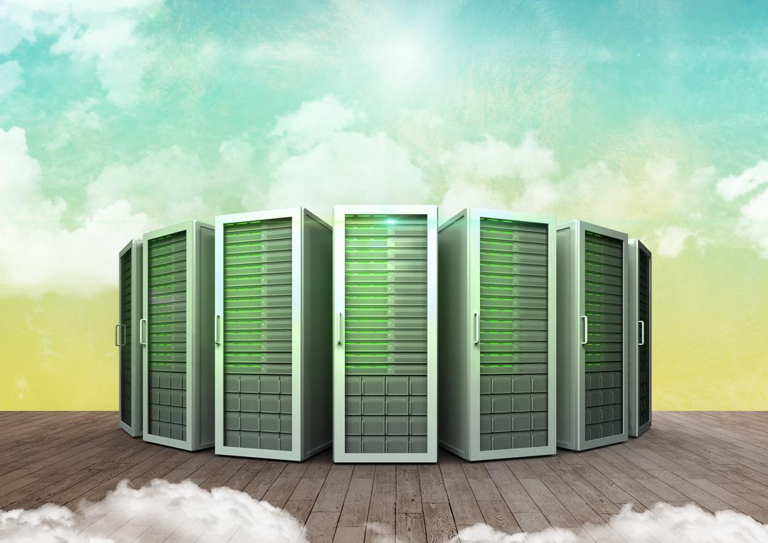 Server systems on wooden flooring against cloud sky in background
