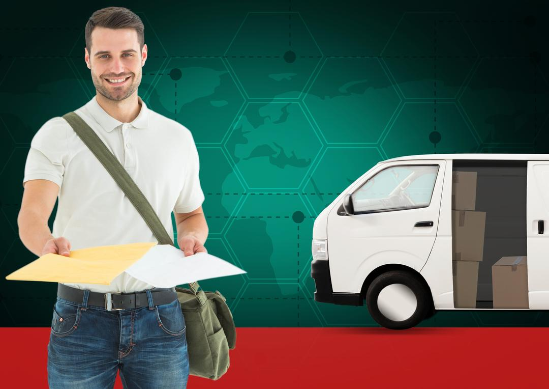 Digital composition of smiling delivery man holding document