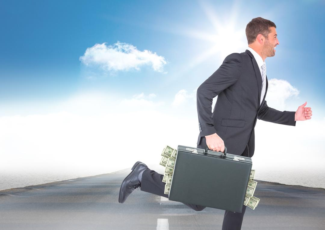 Digital composite of Business man running with money sticking out of briefcase on road against sky with sun