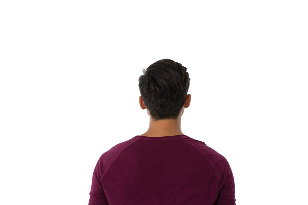 Rear view of man standing against white background