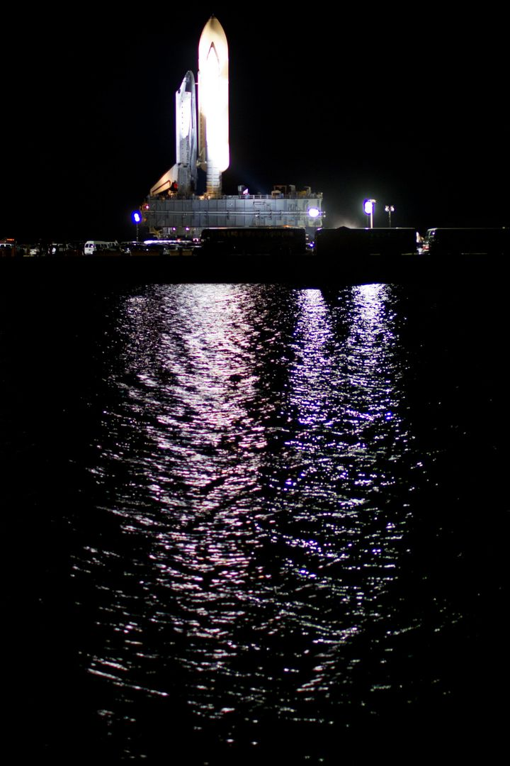 as the space shuttle Atlantis moves to Launch Pad 39A at the Kennedy Space Center on Tuesday, May 31, 2011, in Florida. ( NASA Photo / Houston Chronicle, Smiley N. Pool ).