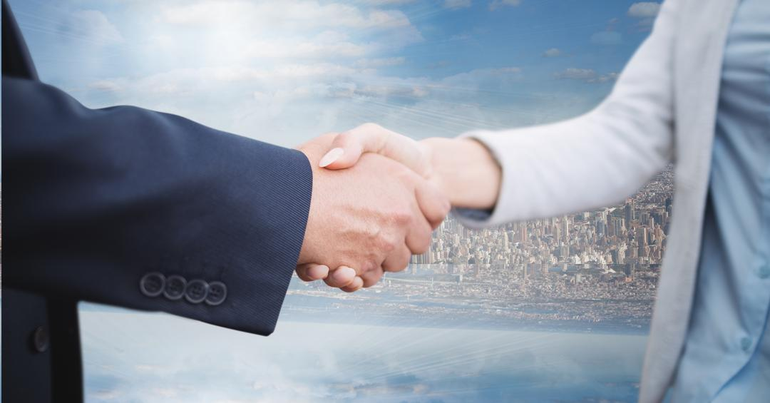 Digital composite of Digital composite image of business people shaking hands