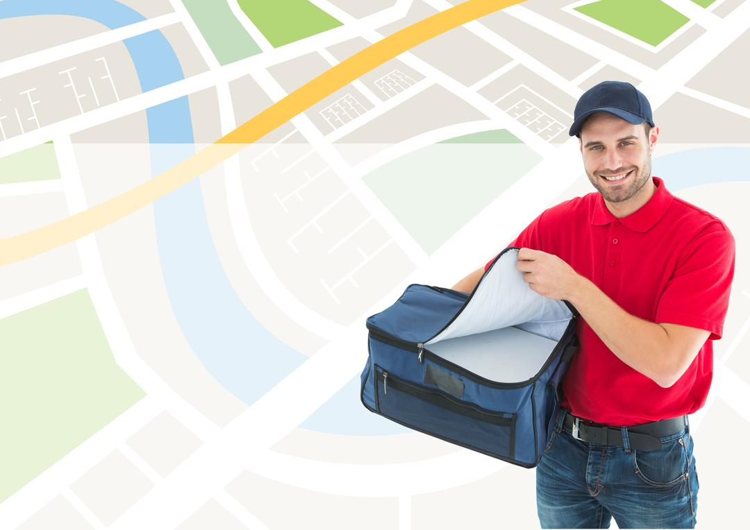 Digital generated image of delivery man holding parcel against location background