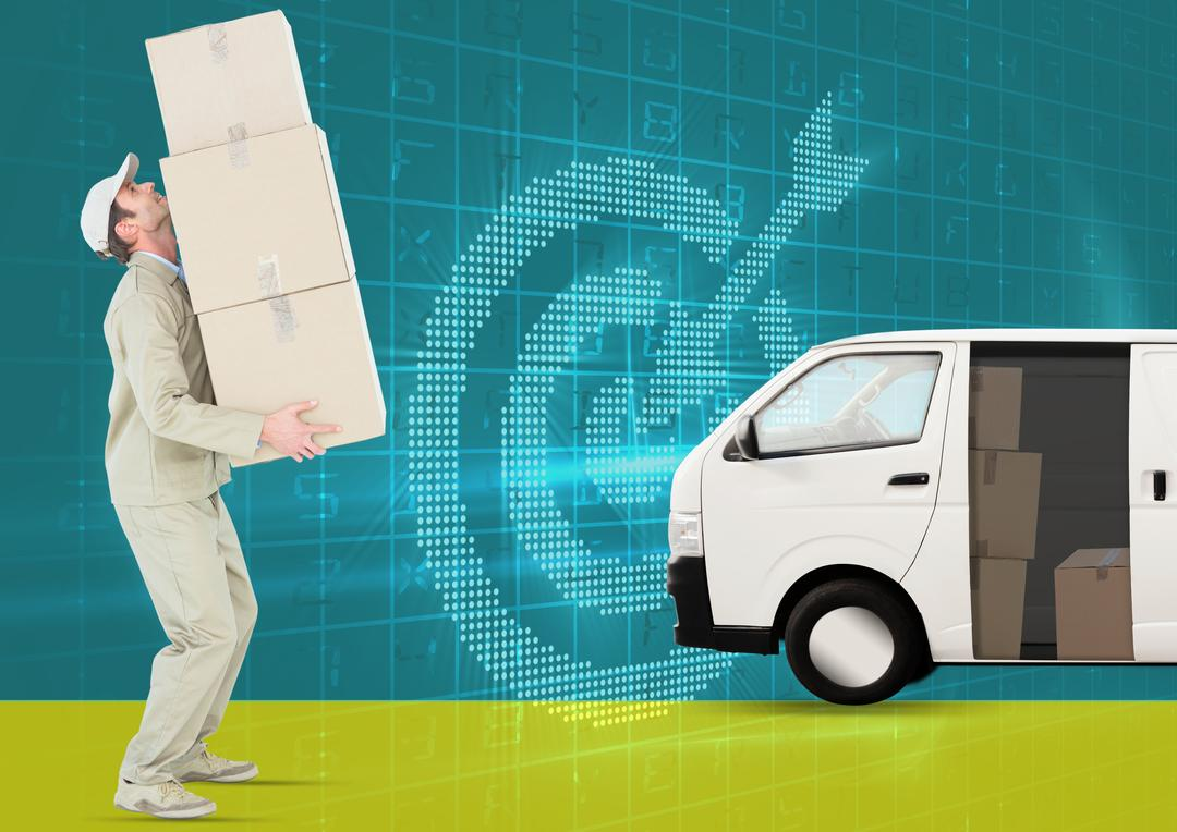 Digital composite image of delivery man holding cardboard boxes