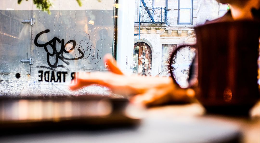 Graffiti window cafe
