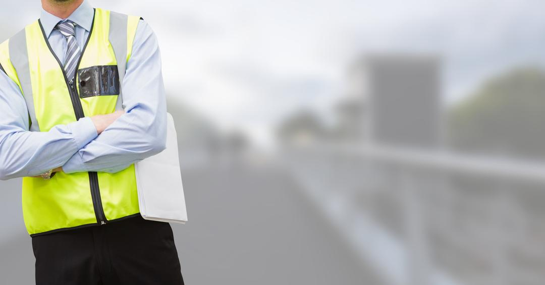 Digital composite of Traffic controller with his hands folded on blurred background of the city
