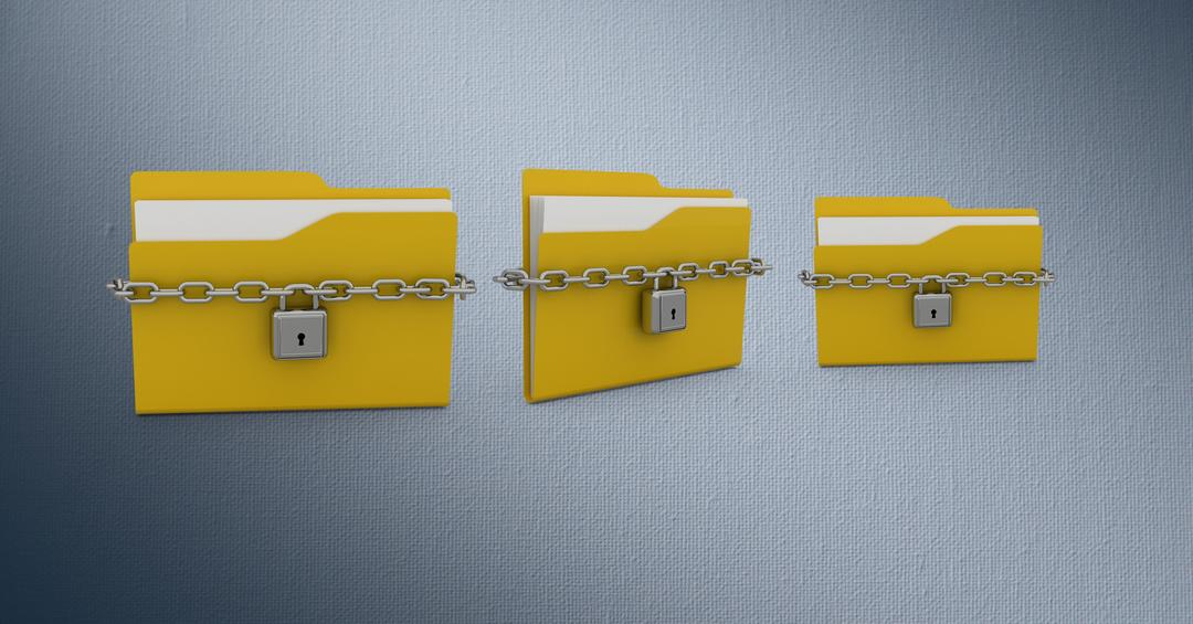Digitally generated image of folder icons chained with locks against grey background