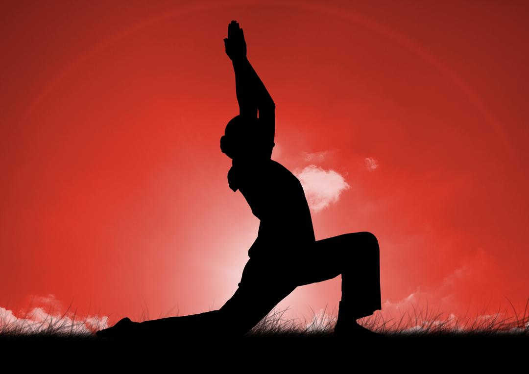 Digital composition of silhouette of woman practicing yoga on grass against sky background Free Stock Images from PikWizard