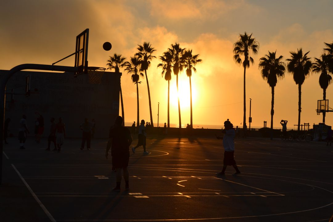 Silhouette basketball sports sunset