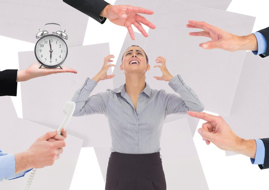 Digital composite image of female executive getting frustrated in office due to work pressure Free Stock Images from PikWizard
