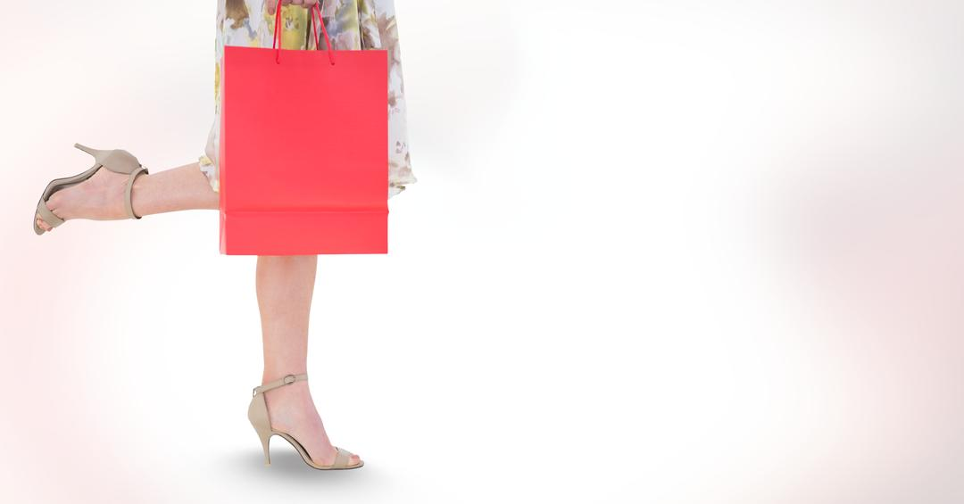 Digital composite of Low section of woman carrying shopping bag