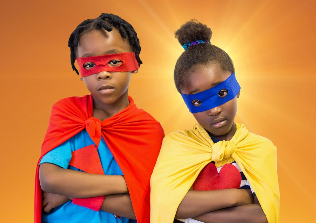 Digital composition of superhero kids with red and yellow capes