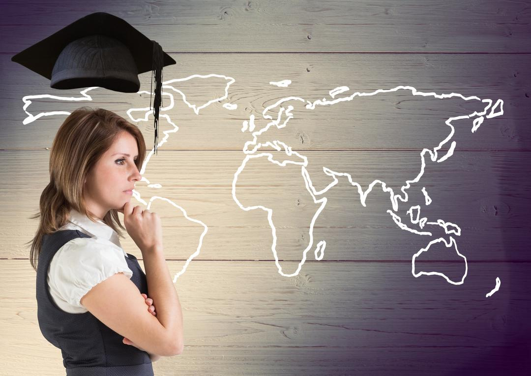 Digital composition of thoughtful businesswoman with graduation cap against world map in wooden background