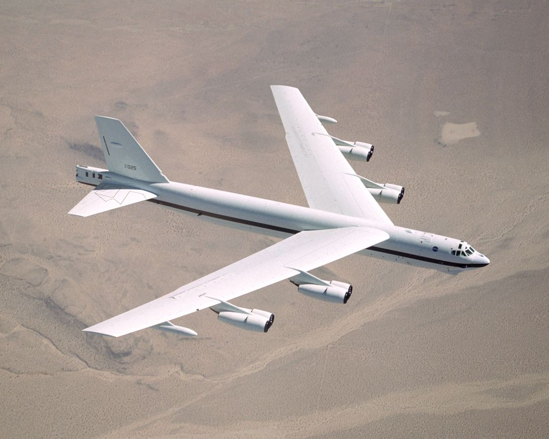 NASA Dryden's B-52H in flight.