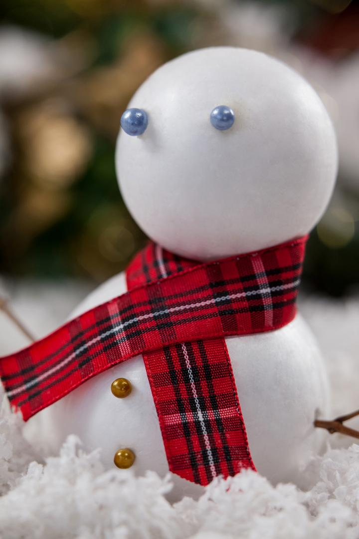 Close-up of snowman with scarf