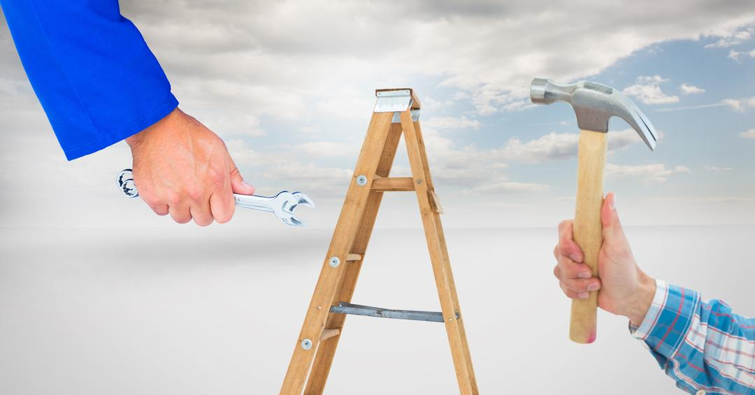 Digital composite of Hands holding tools with step ladder in background Free Stock Images from PikWizard
