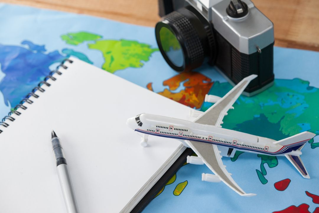 Close-up of holiday and tourism conceptual image with travel accessories Free Stock Images from PikWizard