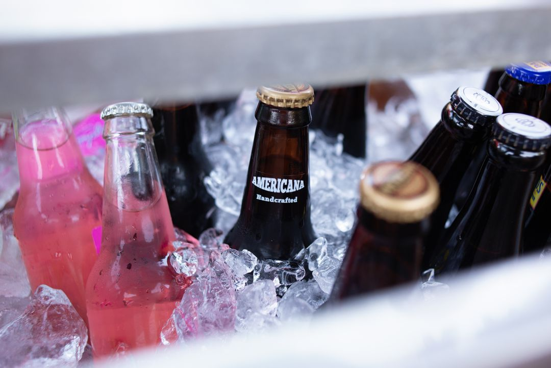 close -up selection of alcohol botttles in ice bucket background