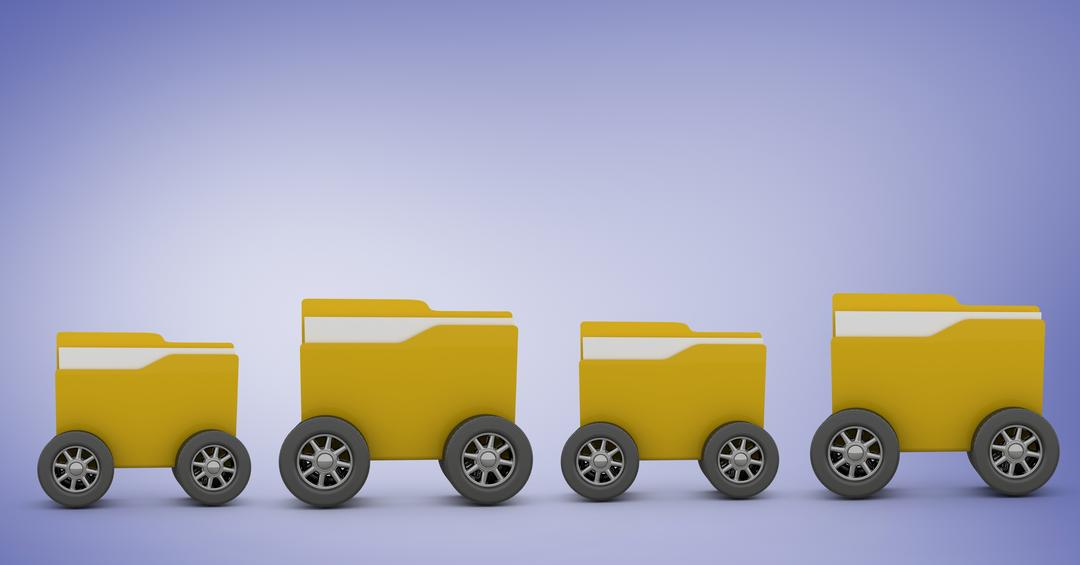 Digital composition of row of folders with wheels against purple background