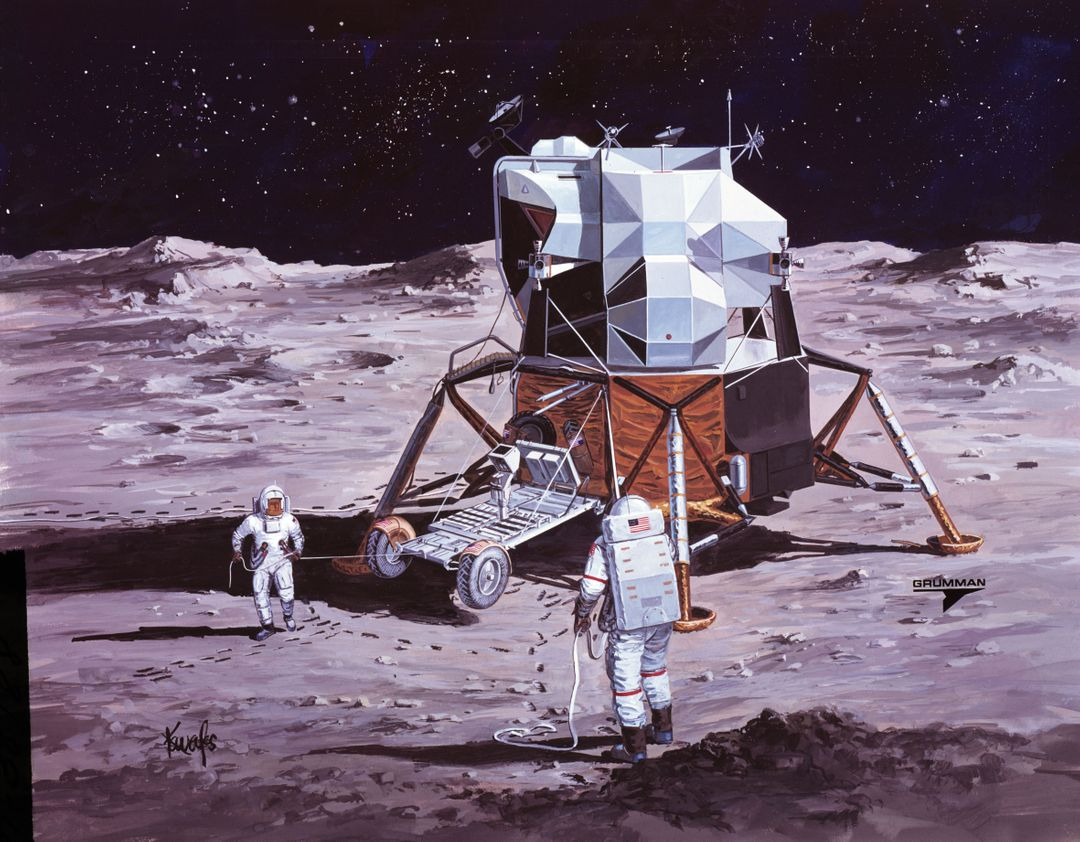 S71-38188 (26 June 1971) --- An artist's concept showing the Apollo 15 mission commander and the lunar module pilot performing deployment of the Lunar Roving Vehicle (LRV) on the lunar surface. The figure on the left represents astronaut James B. Irwin, lunar module pilot, who here is maintaining a constant pull on the deployment cable to help the LRV unfold, while astronaut David R. Scott (right), commander, pulls the tapes that lower the LRV to the surface. (This is the third in a series of Grumman Aerospace Corporation artist's concepts telling the lunar surface LRV deployment story of the Apollo 15 mission).