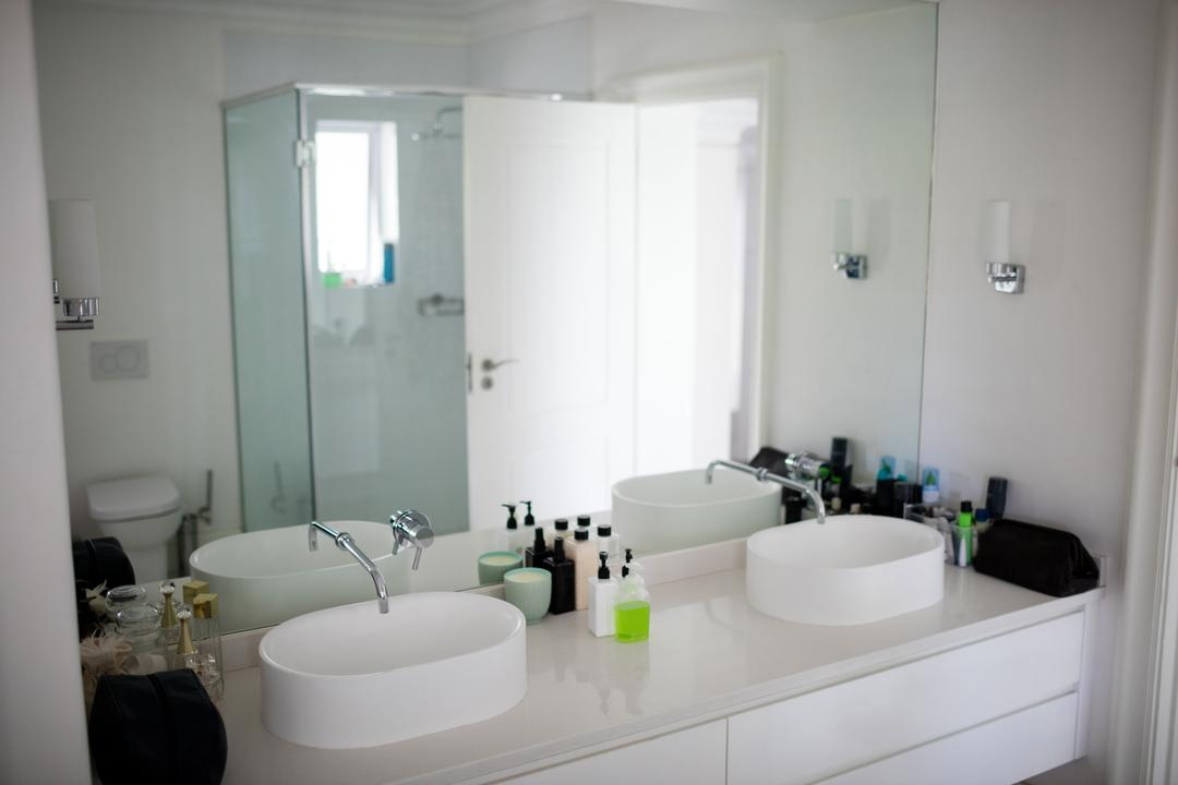 Empty bathroom with hand wash basin at home