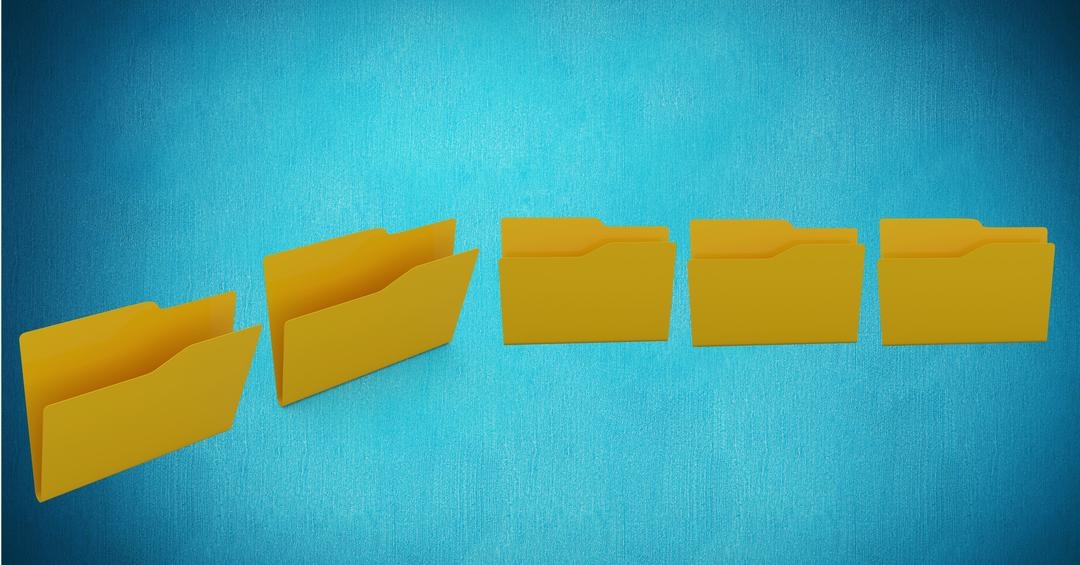 Digital composite image of empty file folders against turquoise background