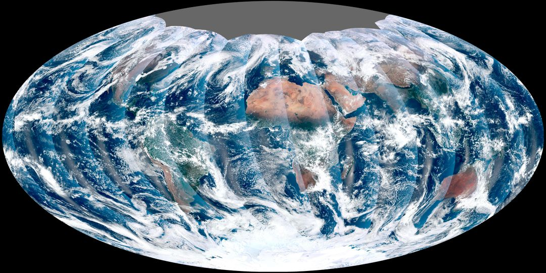 "NASA acquired November 24, 2011  From its vantage 824 kilometers (512 miles) above Earth, the Visible Infrared Imager Radiometer Suite (VIIRS) on the NPOESS Preparatory Project (NPP) satellite gets a complete view of our planet every day. This image from November 24, 2011, is the first complete global image from VIIRS.  The NPP satellite launched on October 28, 2011, and VIIRS acquired its first measurements on November 21. To date, the images are preliminary, used to gauge the health of the sensor as engineers continue to power it up for full operation.  Rising from the south and setting in the north on the daylight side of Earth, VIIRS images the surface in long wedges measuring 3,000 kilometers (1,900 miles) across. The swaths from each successive orbit overlap one another, so that at the end of the day, the sensor has a complete view of the globe. The Arctic is missing because it is too dark to view in visible light during the winter.  The NPP satellite was placed in a Sun-synchronous orbit, a unique path that takes the satellite over the equator at the same local (ground) time in every orbit. So, when NPP flies over Kenya, it is about 1:30 p.m. On the ground. When NPP reaches Gabon—about 3,000 kilometers to the west—on the next orbit, it is close to 1:30 p.m. On the ground. This orbit allows the satellite to maintain the same angle between the Earth and the Sun so that all images have similar lighting.  The consistent lighting is evident in the daily global image. Stripes of sunlight (sunglint) reflect off the ocean in the same place on the left side of every swath. The consistent angle is important because it allows scientists to compare images from year to year without worrying about extreme changes in shadows and lighting.  The image also shows a band of haze along the right side of every orbit swath. When light travels through the atmosphere, it bounces off particles or scatters, making the atmosphere look hazy. The scattering effect is most pronounced along the edge of the swath, where the sensor is looking at an angle through more of the atmosphere. Scientists can correct for this scattering effect, but need measurements from a range of wavelengths to do so. The degree to which light scatters depends partly on the wavelength of the light. Blue light scatters more than red light, for example, which is why the sky is blue. VIIRS measures 22 different wavelengths of light, but not all of the sensor's detectors are operating at peak performance yet. Those measuring thermal infrared light are not yet cold enough to collect reliable measurements.  Once VIIRS begins full operations, it will produce a range of measurements from ocean temperature to clouds to the locations of fires. These measurements will help extend the record from earlier sensors like the Moderate Resolution Imaging Spectroradiometer (MODIS). VIIRS is very similar to MODIS, but flies at a higher altitude to measure the whole planet without gaps. (MODIS daily measurements have gaps at the equator. See the MODIS image from November 24.) VIIRS also sees the Earth in less detail, 375 meters per pixel, compared to 250 meters per pixel for MODIS.  Image by NASA's NPP Land Product Evaluation and Testing Element. Caption by Holli Riebeek.  Credit: <b><a href=""http://www.earthobservatory.nasa.gov/"" rel=""nofollow""> NASA Earth Observatory</a></b>  <b><a href=""http://www.nasa.gov/audience/formedia/features/MP_Photo_Guidelines.html"" rel=""nofollow"">NASA image use policy.</a></b>  <b><a href=""http://www.nasa.gov/centers/goddard/home/index.html"" rel=""nofollow"">NASA Goddard Space Flight Center</a></b> enables NASA's mission through four scientific endeavors: Earth Science, Heliophysics, Solar System Exploration, and Astrophysics. Goddard plays a leading role in NASA's accomplishments by contributing compelling scientific knowledge to advance the Agency's mission.  <b>Follow us on <a href=""http://twitter.com/NASA_GoddardPix"" rel=""nofollow"">Twitter</a></b>  <b>Like us on <a href=""http://www.facebook.com/pages/Greenbelt-MD/NASA-Goddard/395013845897?ref=tsd"" rel=""nofollow"">Facebook</a></b>  <b>Find us on <a href=""http://instagrid.me/nasagoddard/?vm=grid"" rel=""nofollow"">Instagram</a></b>"