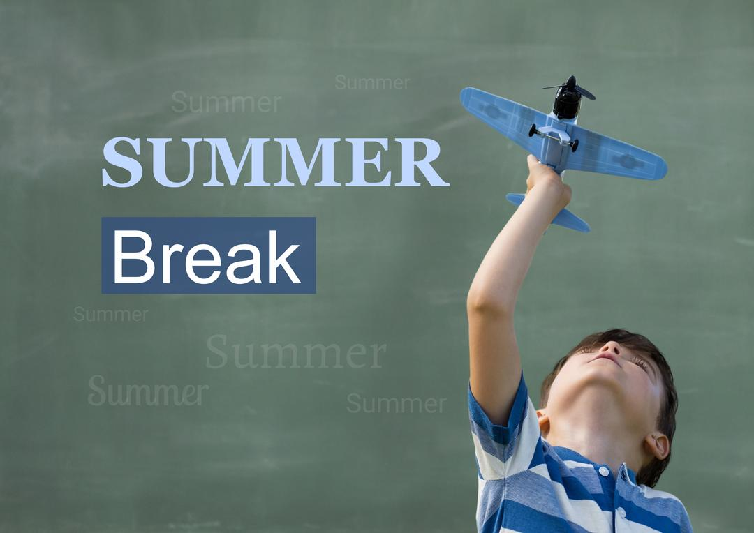 Digital composition of boy playing with toy plane against background summer break in text